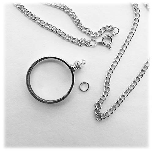 Coin Holder Bezel Quarter USA 25 Cent Silver Tone Link Necklace 20