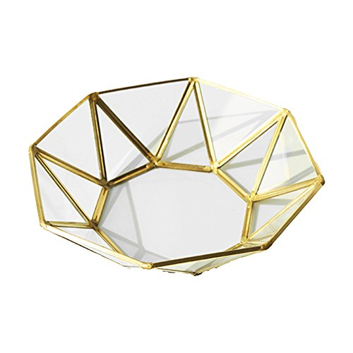Ins Vintage Octagon Mirrored Glass Metal Gold Jewelry Makeup Organizer Vanity Ring Tray Basket Ornate Brass Tone Geometric Plate Earring Trinket Terrarium Chest Home Decorative Dish Display Tray
