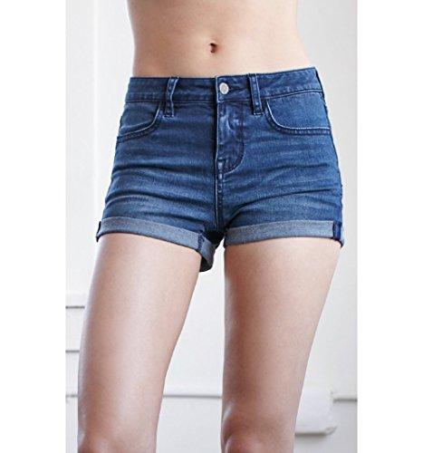 Bullhead Denim Co. Womens Holli Blue Mid Rise Super Stretch Denim Shorts