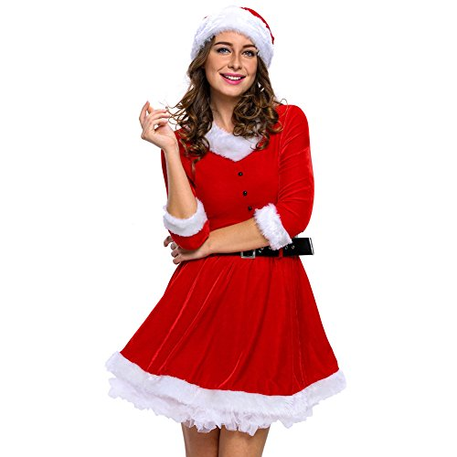 [Papaya Wear Mrs Santa Claus Christmas Costume Party Dress for Women] (Santa And Mrs Claus Costumes)