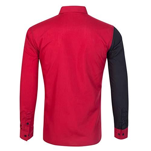 Casual Formale Per Nero Chiyeee amp;rosso Fit Uomo Camicia Lunga Camicie Slim Manica Classica Elastica wwq8xUgzA