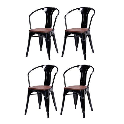 Modern Classic Style Metal Bar Stools Solid Steel Construction Comfortable Backrest Stackable Bistro Side Chair Home Office Furniture - Set of 4 Black #1532 (Backrest Pattern)