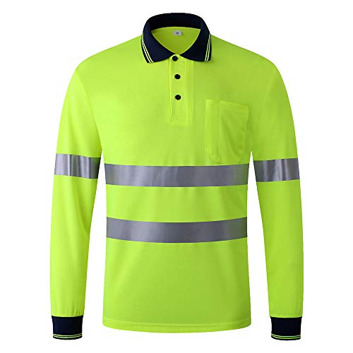JKSafety Hi Vis Moisture Wicking Reflective Safety Polo Shirt Long Sleeve ANSI Class 3 Unisex Construction Security Exercise (Yellow, Small) from JKSafety
