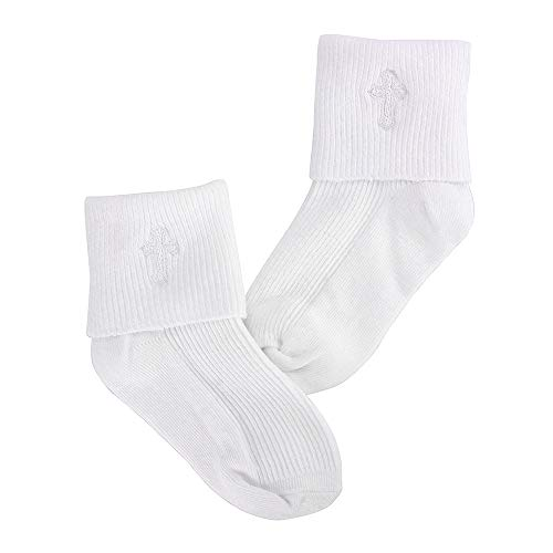 Infant Baby Boys Girls Turn Cuff Cotton Baptism Christening White Embroidered Cross Socks, 6-12 Months (Dress White Boys Socks)