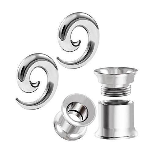 BIG GAUGES 2 Pairs Surgical Steel 0g Gauge 8mm Spiral Taper Expander Double Flared Internally Tunnel Piercing Ear Stretcher Plugs BG8243