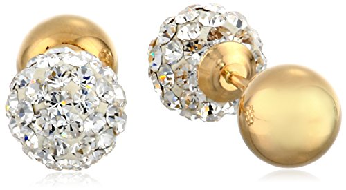 14k Yellow Gold and Crystal Ball-Back Reversible Stud Earrings