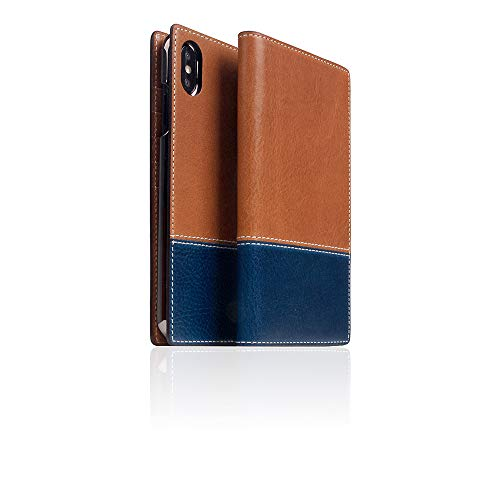 [SLG DESIGN] D+ Italian Temponata Leather case for iPhone Xs Max I Italian Premium Leather Flip Folio Book Case Wallet Cover with Feature Card Slots Compatible with iPhone Xs Max (Tan X Blue) ()
