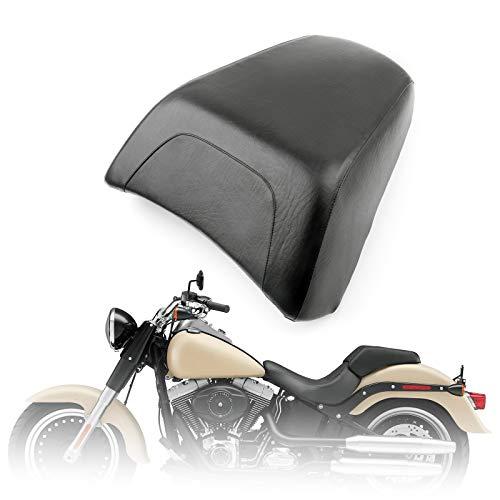 Artudatech Motorbike Rear Passenger Seat, Motorcycle Passenger Rear Seat Leather Pillon Seat Cushion Replacement For Harley Davidsion FLSTF Fat Boy Black:
