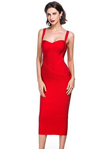 Celebrity Red Dress (Alice & Elmer Women's Rayon Strap Celebrity Evening Party Bodycon Midi Knee Bandage Club Dress Red S)