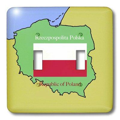 3dRose LSP 39218_ 2el mapa y la bandera de Polonia con la República de Polonia impreso en inglés y esmalte doble...