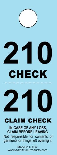 Two-part Coat Room Checks -- Coat Check Tags -- 2 Part Blue -- 500 Count ()