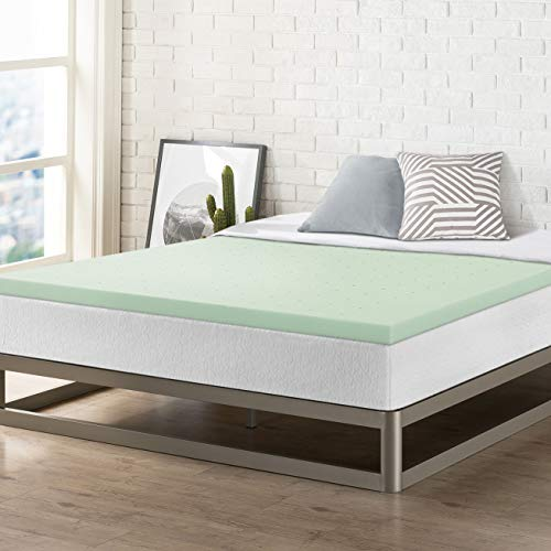 Best Price Mattress 2 Inch Memory Foam Bed Topper with with Green Tea Cooling Mattress Pad, King Size, (Green Memory Foam Toppers)