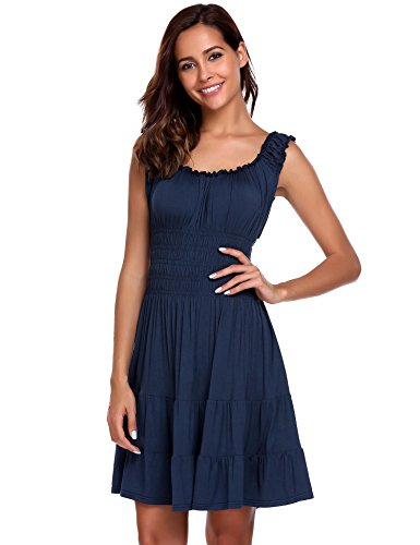 Zeagoo Women Pleated Sleeveless Square Neck Fit and Flare A-line Mini Dress Navy Blue S Smocked A-line