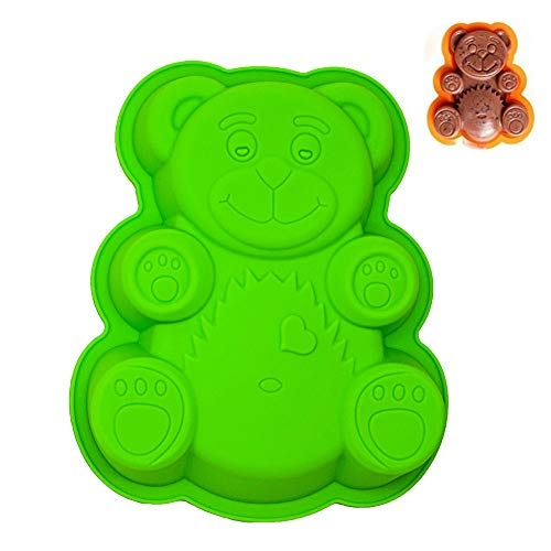 - Novelty Silicone Cake Pan for Kids | 3D Bear Baking Mold Set | Approx. 11 Inch Cake Baking Mold, Nonstick Bakeware, BPA Free, FDA-Approved, 11.4 x 9.05 x 1.58 Inches (Large-Bear)