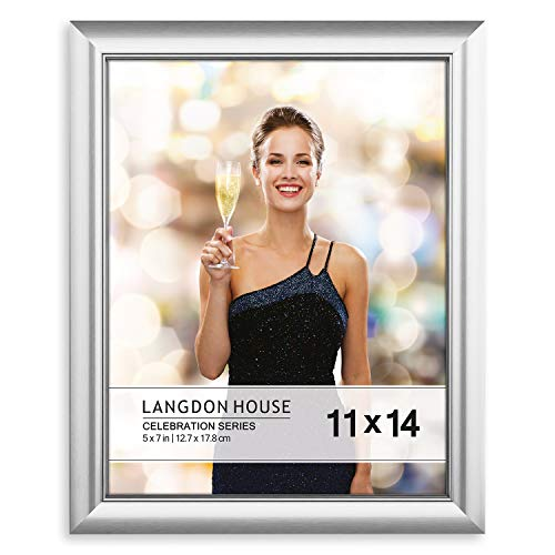 Langdons 11x14 Picture Frame (1 Pack, Silver), Silver Photo Frame 11 x 14, Wall Mount or Table Top, Set of 1 Celebration Collection (Wedding Picture Frames 11 X 14)