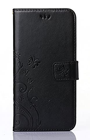 Samsung Galaxy Core LTE 4G SM-G386F/ Avant G386T Case,C-Super Mall PU embossed butterfly & flower Leather Wallet Stand Flip Case for Samsung Galaxy Core LTE 4G SM-G386F/ Avant (Samsung Galaxy Core Lte Case G386)