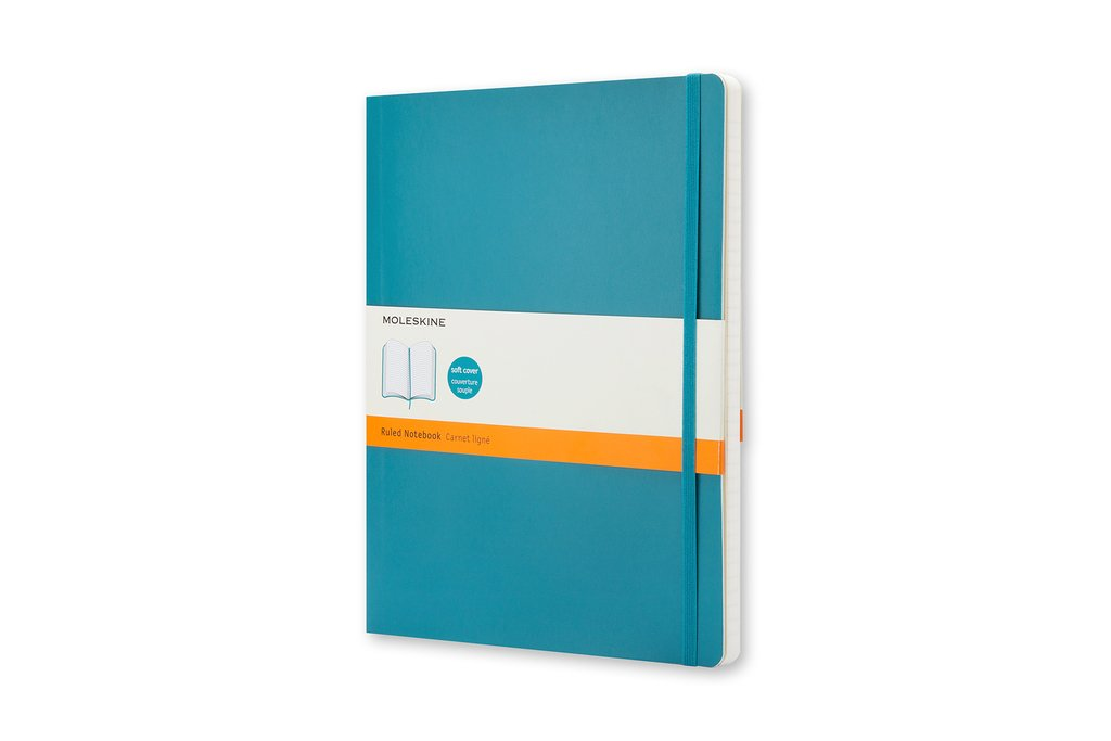 Moleskine Classic Notebook, Soft Cover, XL (7.5'' x 9.5'') Ruled/Lined, Underwater Blue