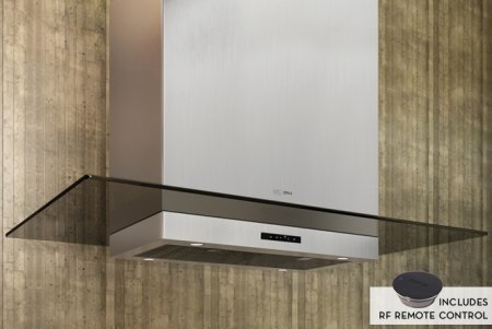 ASL-E42ASX 42 Arc Surface Island Mount Range Hood with Optional Internal/External Blowers CleanAir Function Tri-Level Halogen Memory Touch Glass Controls & Transparent Glass in Stainless Steel