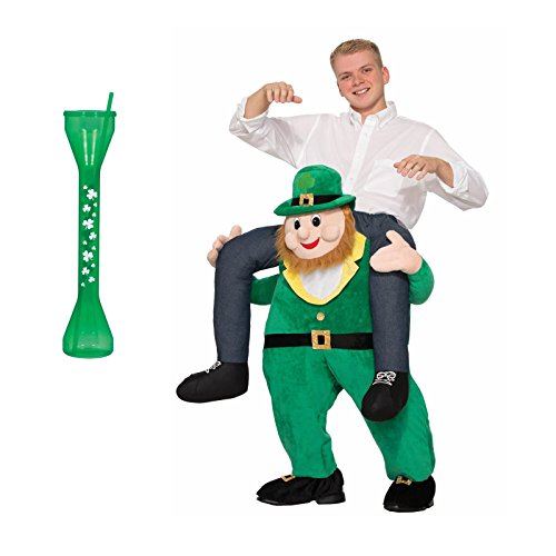 Notre Dame Costumes (St Patricks Day Adult Leprechaun Rider Costume - Green Drinking Glass with Straw Bundle)