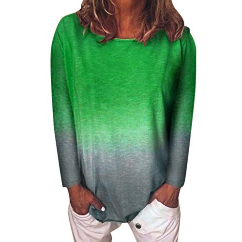 Zackate Womens Gradient Color Round Neck T-Shirts Long Sleeve Casual Tunic Tops Blouse Green (Cute Winter Sayings For A Bulletin Board)