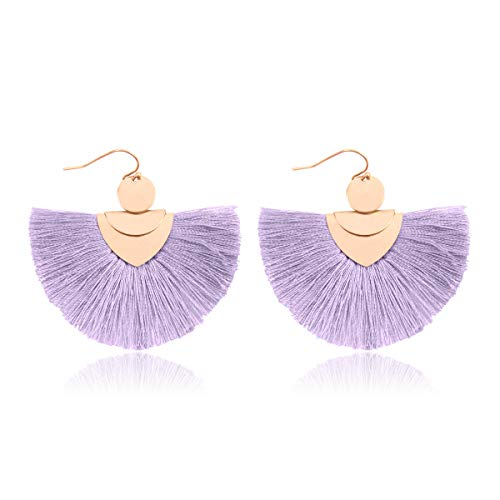 RIAH FASHION Bohemian Fan Tassel Drop Earrings - Embellished Thread Fringe Statement Round Half Circle, Clover, Teardrop Leatherette Dangle Earrings (Bohemian Fan Tassel - Lavender) ()