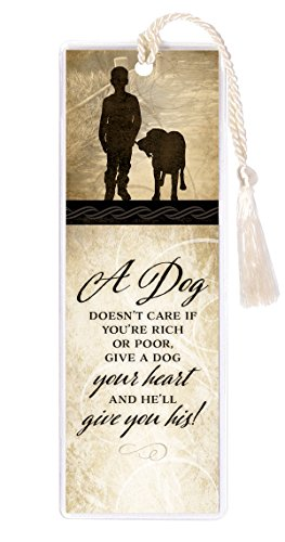 Dog Doesn't Care if Poor Rich Give Heart 2 x 6 Inch Vinyl-Encased Bookmark