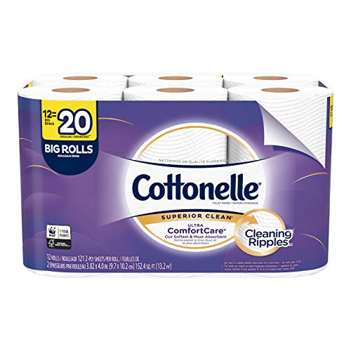 (Cottonelle Ultra ComfortCare Toilet Paper, Soft Bath Tissue, Septic-Safe, 12 Big Rolls)