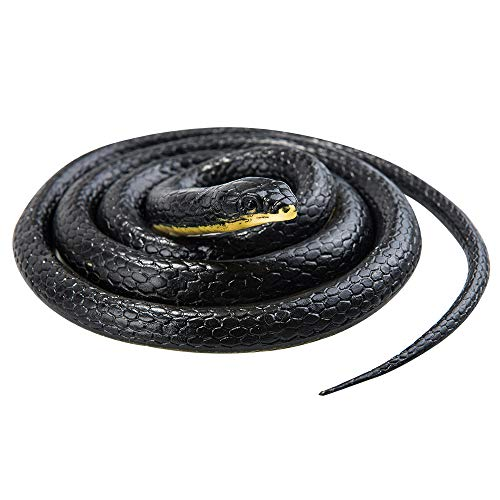 MoloTAR Realistic Rubber Black Snake 52 inch Long Scare Toy