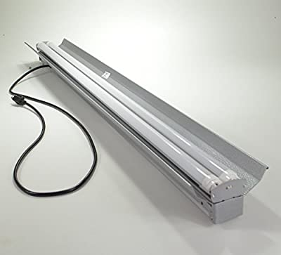 Grey 4-foot 4' 2-light Shoplight with 2x LED T8 20 Watt Tubes 40 Watt Total Replacement for (4) 32w Fluorescent Bulbs- 6500K