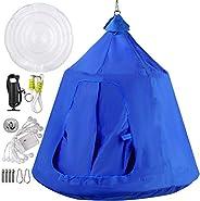 OrangeA Hanging Tree Tent Green Pink Blue Hanging Tree Tent for Kids 46 H x 43.4 Diam Hanging Tree House Tent