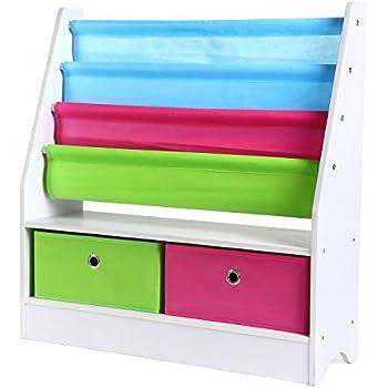 kids 39 sling bookshelf with storage bins espresso kitchen dining. Black Bedroom Furniture Sets. Home Design Ideas
