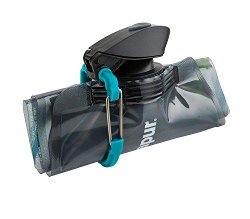 Vapur - Element 1.0L BPA Free Foldable Flexible Water Bottle w/Carabiner (Grey/Teal) by Vapur (Image #2)