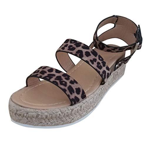 Open Toe Ankle Strap Espadrille Sandal,Londony Womens Casual Espadrilles Trim Flatform Studded Wedge Platform Sandals Khaki