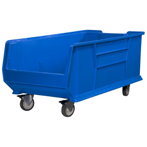Akro-Mils 30293 Mobile Super Size Plastic Stacking Storage Akro Bin, 30-Inch x 16-Inch x 11-Inch, Blue by Akro-Mils