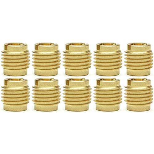 SNUG Fasteners (SNG870) Ten (10) #8-32 Brass Knife Threaded Inserts for Wood | .375