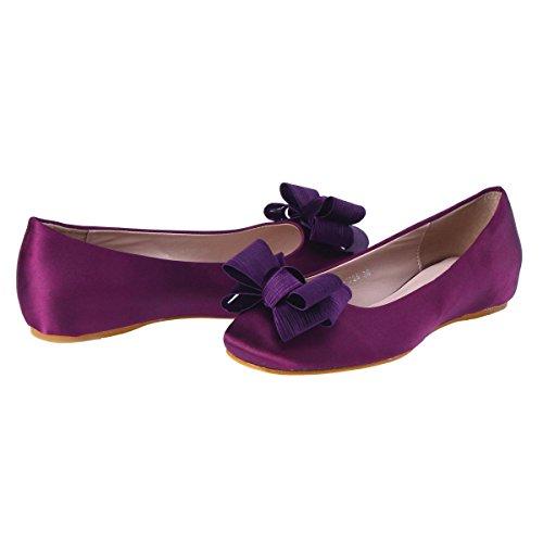 Damara Mujeres Zapatos Planos De Cabeza Cuadrada Bailarinas Zapatillas Con Lazo Violado