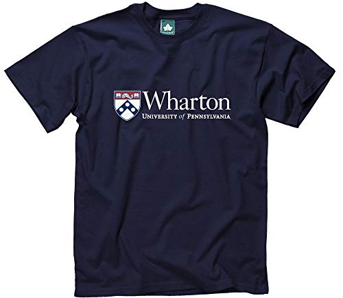 Ivysport University of Pennsylvania T-Shirt Wharton Logo, 100% Cotton, Navy, Short Sleeve T-Shirt, Medium