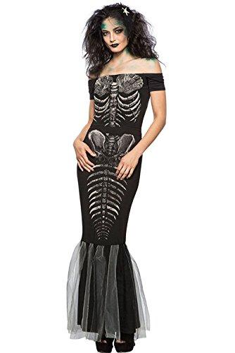 Women Adult Halloween Costume Skeleton Off Shoulder Mermaid