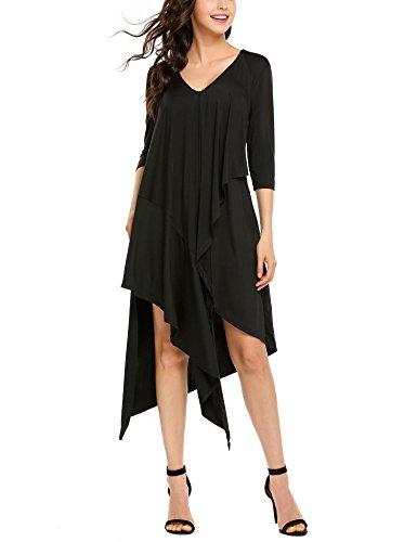 Asymmetrical Sleeve (BEAUTYTALK Women's Casual V-neck 3/4 Sleeve Asymmetrical Hem Loose Midi Party Dress)
