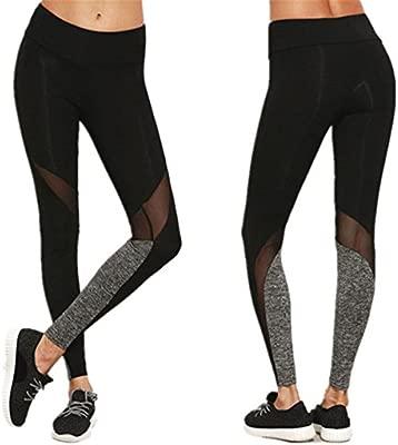 Longra Hey! Leggings Deportivos de Malla para Mujer, Pantalones de Yoga Slim - Sólido Color - Elástico Pretina Pantalones
