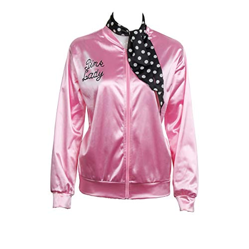 Pink Ladies Jacket From Grease (1950s Pink Satin Jacket with Neck Scarf Girls Women Danny Halloween Costume Fancy Dress)