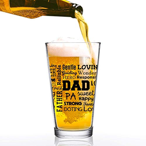 Dad Beer Glass with Inspirational Words (Front & Back) | Birthday Present for Dad | Cool Beer Glass for Dad, Step Dad New Dad or Grandpa | Daddy Gifts From Daughter
