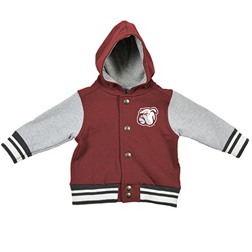 College Kids NCAA Mississippi State Bulldogs Children Infant Letterman Jacket, 12 Months, Maroon/Oxford