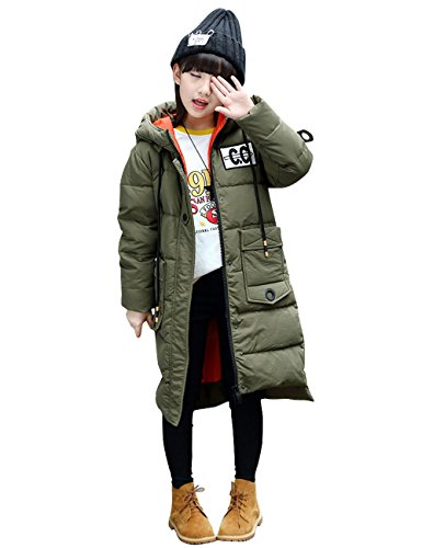 CUKKE Girl's Down Jacket Hooded Winter Warm Outwear Thicker Down Jacket (140,Army-Green) by CUKKE