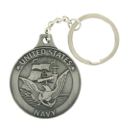 United+States+Navy+Antique+Pewter+Finished+Keychain+with+Keyring+and+Chain