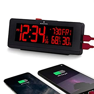Marathon CL030063BK USB Charger with 2 Charging Ports and Large Changing Display. Alarm Clock with Snooze, Light, Date, Temperature & Humidity. Hotel Collection. Color B, Midnight Black (B01N4ISJ3L) | Amazon price tracker / tracking, Amazon price history charts, Amazon price watches, Amazon price drop alerts