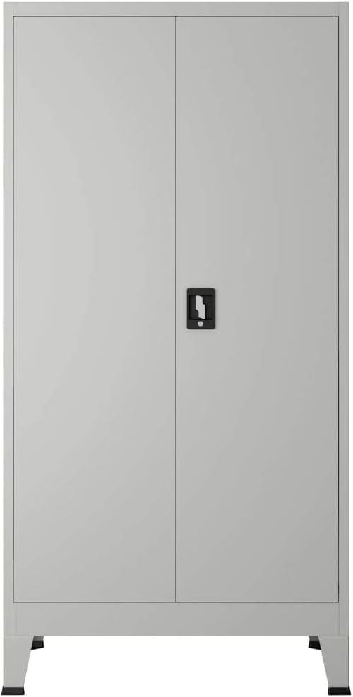 Tidyard Armoire de Bureau Armoire de Fichiers 90 x 40 x 180 cm avec 2 Portes Acier Gris