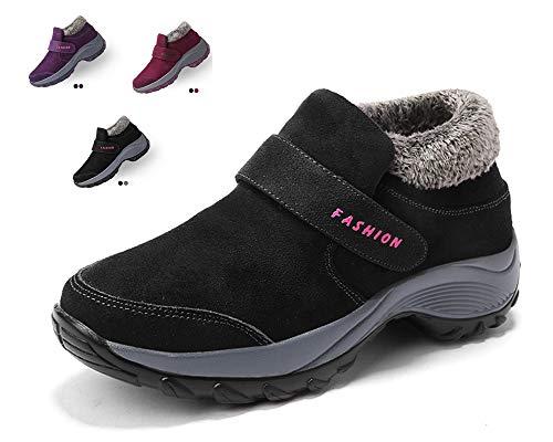 Allineato Caviglia Da Sportive Uomo Nero Caloroso Stivali Scarpe Stivaletti Boots Pelliccia Piatto Neve Invernali w Donna FqYUxC