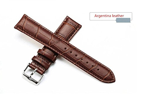 Unisex Brown Calf Leather Replacement Watch Band Alligator Grain 18mm Width 7.87inch Length