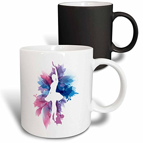 3dRose 219639_3 Ballet Plié Chassé Jeté In Grey Mug, 11 oz, Black/White